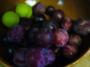 colander of fresh plums